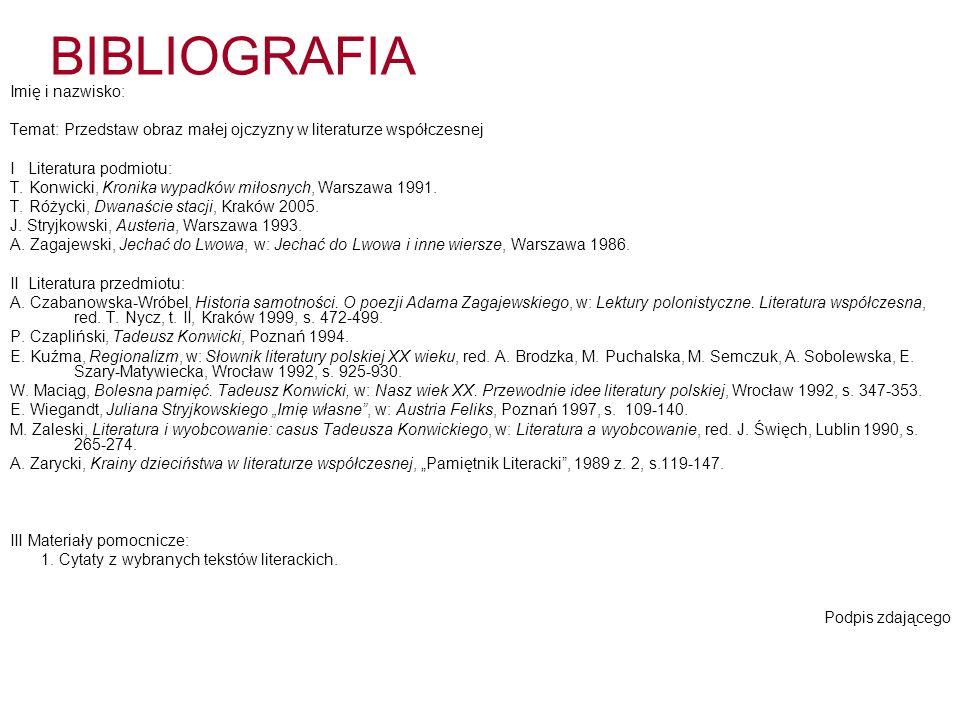 BIBLIOGRAFIA i KONSPEKT - terminy 8 grudnia 2008 – oddanie wstępnej wersji bibliografii, która zostanie oceniona przez nauczyciela języka polskiego 9 marca 2009 – oddanie ostatecznej wersji bibliografii, która zostanie oceniona przez nauczyciela języka polskiego 6 kwietnia 2009 – dostarczenie do sekretariatu ostatecznej wersji bibliografii w trzech egzemplarzach 20 kwietnia 2009 – dostarczenie konspektu prezentacji i wykazu materiałów pomocniczych