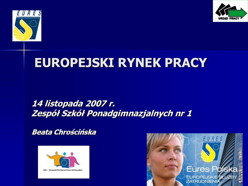 EUROPEJSKI RYNEK PRACY 14 listopada 2007 r. Zespół Szkół Ponadgimnazjalnych nr 1 Beata Chrościńska