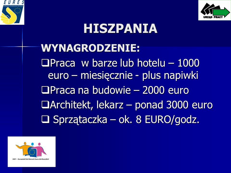 HISZPANIA WYNAGRODZENIE: Praca w barze lub hotelu – 1000 euro – miesięcznie - plus napiwki Praca w barze lub hotelu – 1000 euro – miesięcznie - plus napiwki Praca na budowie – 2000 euro Praca na budowie – 2000 euro Architekt, lekarz – ponad 3000 euro Architekt, lekarz – ponad 3000 euro Sprzątaczka – ok.