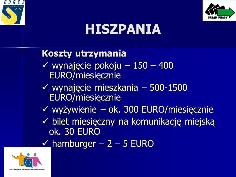 HISZPANIA Koszty utrzymania wynajęcie pokoju – 150 – 400 EURO/miesięcznie wynajęcie pokoju – 150 – 400 EURO/miesięcznie wynajęcie mieszkania – 500-1500 EURO/miesięcznie wynajęcie mieszkania – 500-1500 EURO/miesięcznie wyżywienie – ok.