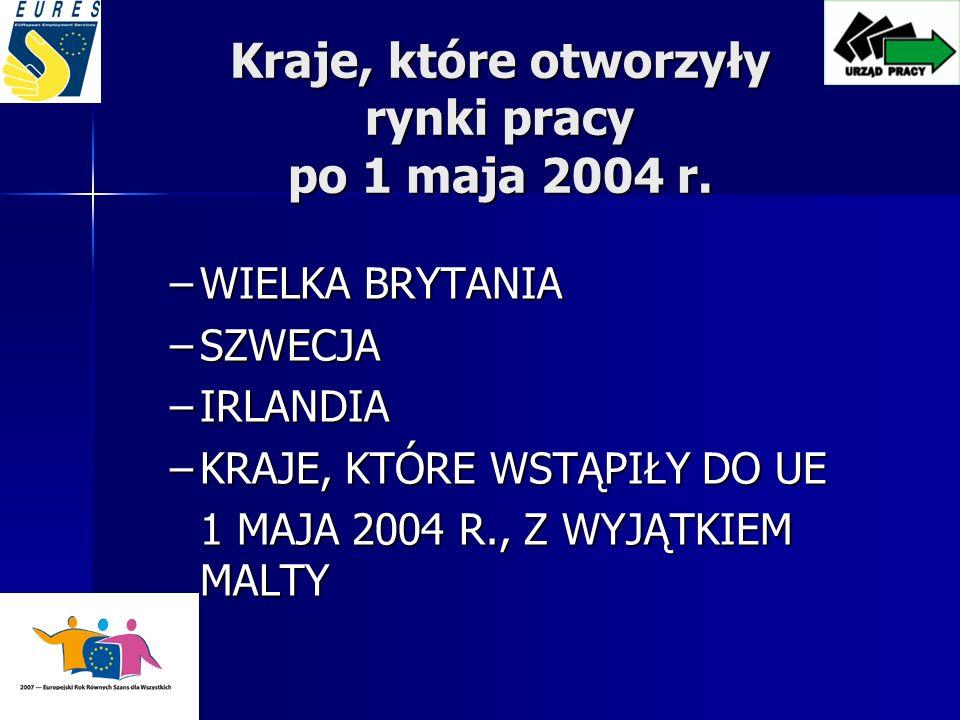 Kraje, które otworzyły rynki pracy po 1 maja 2004 r.