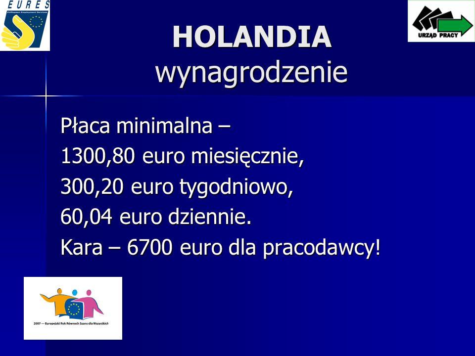HOLANDIA wynagrodzenie Płaca minimalna – 1300,80 euro miesięcznie, 300,20 euro tygodniowo, 60,04 euro dziennie.