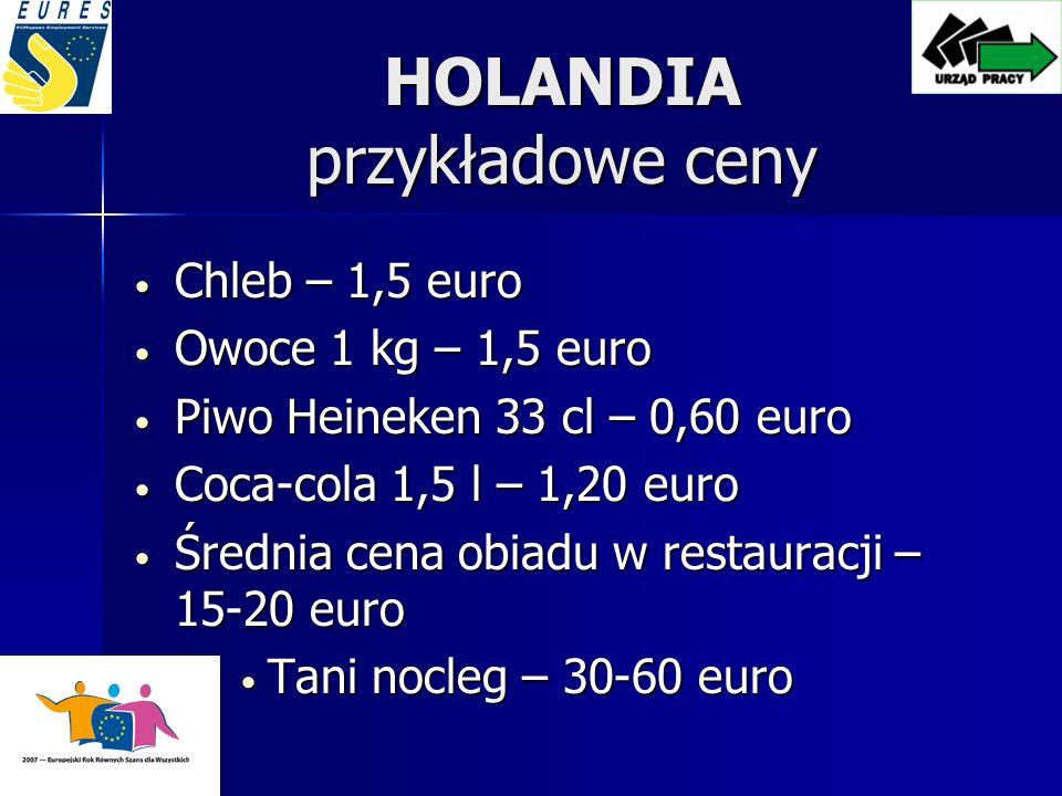 HOLANDIA przykładowe ceny Chleb – 1,5 euro Chleb – 1,5 euro Owoce 1 kg – 1,5 euro Owoce 1 kg – 1,5 euro Piwo Heineken 33 cl – 0,60 euro Piwo Heineken 33 cl – 0,60 euro Coca-cola 1,5 l – 1,20 euro Coca-cola 1,5 l – 1,20 euro Średnia cena obiadu w restauracji – 15-20 euro Średnia cena obiadu w restauracji – 15-20 euro Tani nocleg – 30-60 euro Tani nocleg – 30-60 euro
