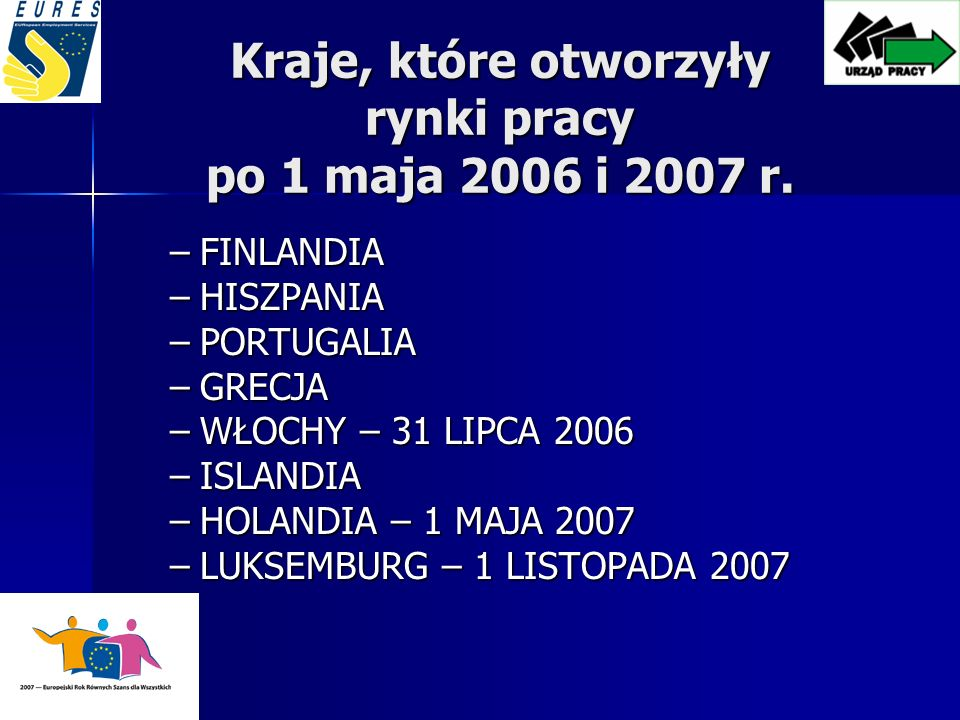 Kraje, które otworzyły rynki pracy po 1 maja 2006 i 2007 r.