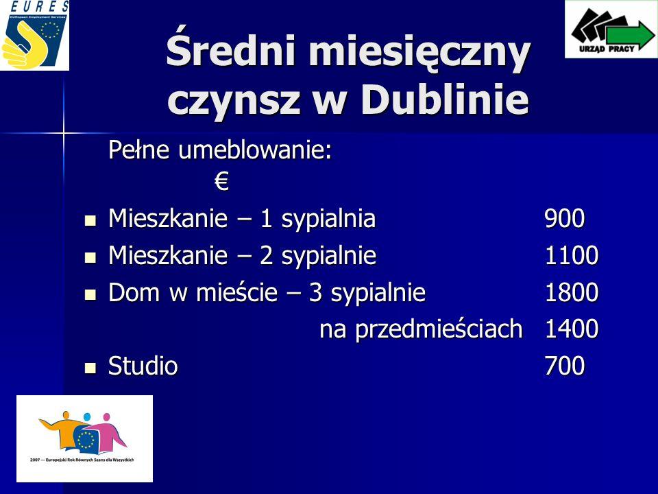 Średni miesięczny czynsz w Dublinie Pełne umeblowanie: Pełne umeblowanie: Mieszkanie – 1 sypialnia 900 Mieszkanie – 1 sypialnia 900 Mieszkanie – 2 sypialnie 1100 Mieszkanie – 2 sypialnie 1100 Dom w mieście – 3 sypialnie 1800 Dom w mieście – 3 sypialnie 1800 na przedmieściach 1400 na przedmieściach 1400 Studio 700 Studio 700