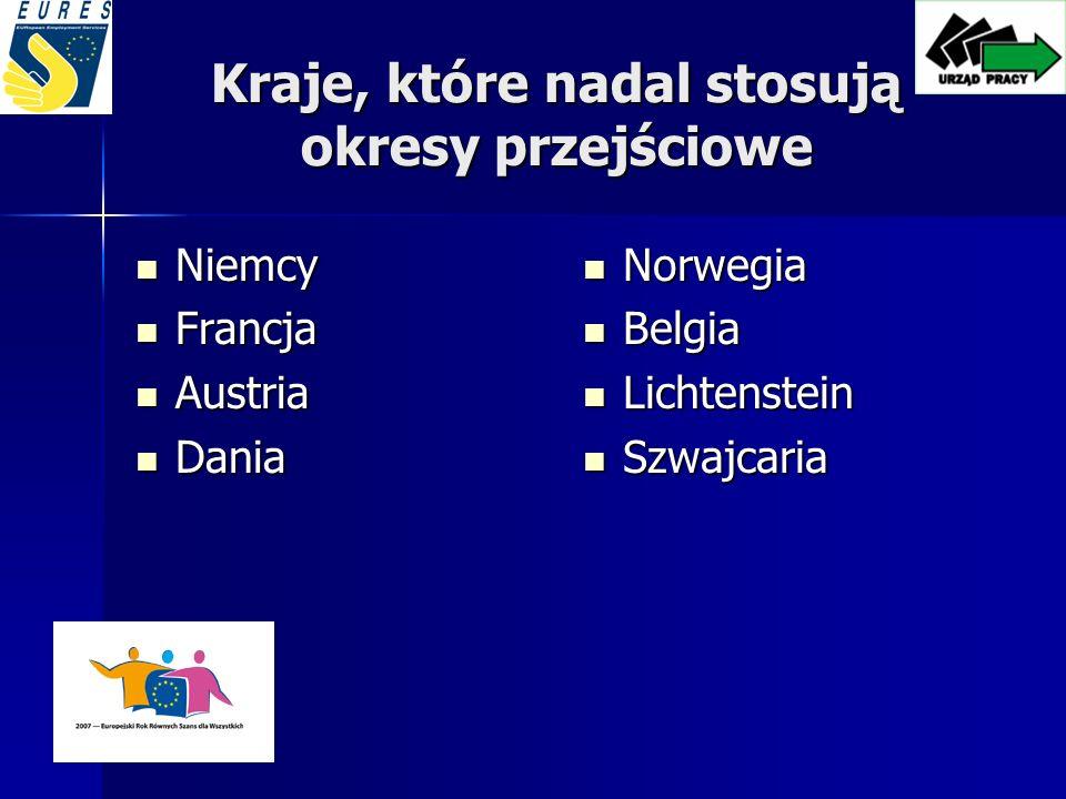 Kraje, które nadal stosują okresy przejściowe Niemcy Niemcy Francja Francja Austria Austria Dania Dania Norwegia Norwegia Belgia Belgia Lichtenstein Lichtenstein Szwajcaria Szwajcaria