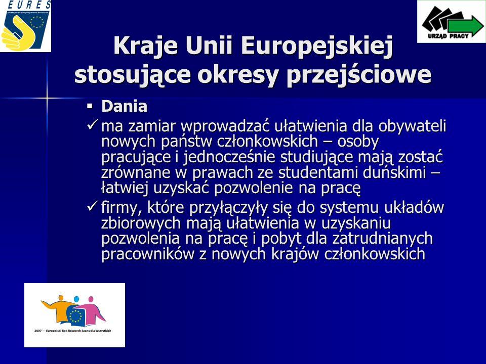 Kraje Unii Europejskiej stosujące okresy przejściowe Dania Dania ma zamiar wprowadzać ułatwienia dla obywateli nowych państw członkowskich – osoby pracujące i jednocześnie studiujące mają zostać zrównane w prawach ze studentami duńskimi – łatwiej uzyskać pozwolenie na pracę ma zamiar wprowadzać ułatwienia dla obywateli nowych państw członkowskich – osoby pracujące i jednocześnie studiujące mają zostać zrównane w prawach ze studentami duńskimi – łatwiej uzyskać pozwolenie na pracę firmy, które przyłączyły się do systemu układów zbiorowych mają ułatwienia w uzyskaniu pozwolenia na pracę i pobyt dla zatrudnianych pracowników z nowych krajów członkowskich firmy, które przyłączyły się do systemu układów zbiorowych mają ułatwienia w uzyskaniu pozwolenia na pracę i pobyt dla zatrudnianych pracowników z nowych krajów członkowskich