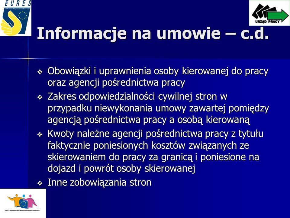 Informacje na umowie – c.d.