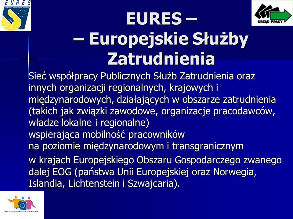 EURES – – Europejskie Służby Zatrudnienia Sieć współpracy Publicznych Służb Zatrudnienia oraz innych organizacji regionalnych, krajowych i międzynarodowych, działających w obszarze zatrudnienia (takich jak związki zawodowe, organizacje pracodawców, władze lokalne i regionalne) wspierająca mobilność pracowników na poziomie międzynarodowym i transgranicznym w krajach Europejskiego Obszaru Gospodarczego zwanego dalej EOG (państwa Unii Europejskiej oraz Norwegia, Islandia, Lichtenstein i Szwajcaria).