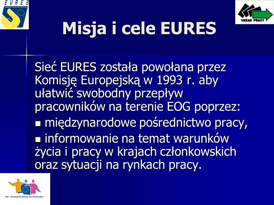 Misja i cele EURES Sieć EURES została powołana przez Komisję Europejską w 1993 r.
