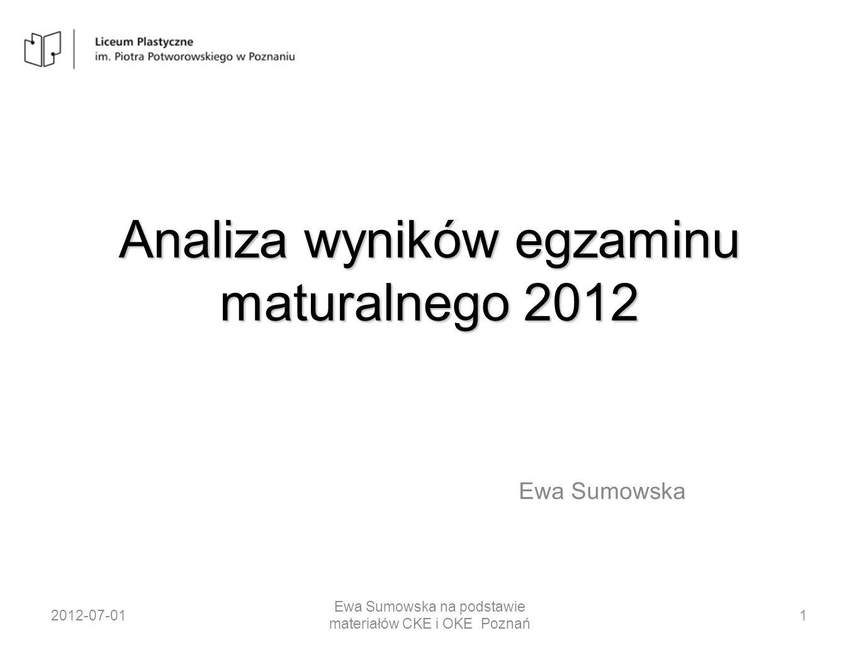 Analiza wyników egzaminu maturalnego 2012 Ewa Sumowska 2012-07-011 Ewa Sumowska na podstawie materiałów CKE i OKE Poznań