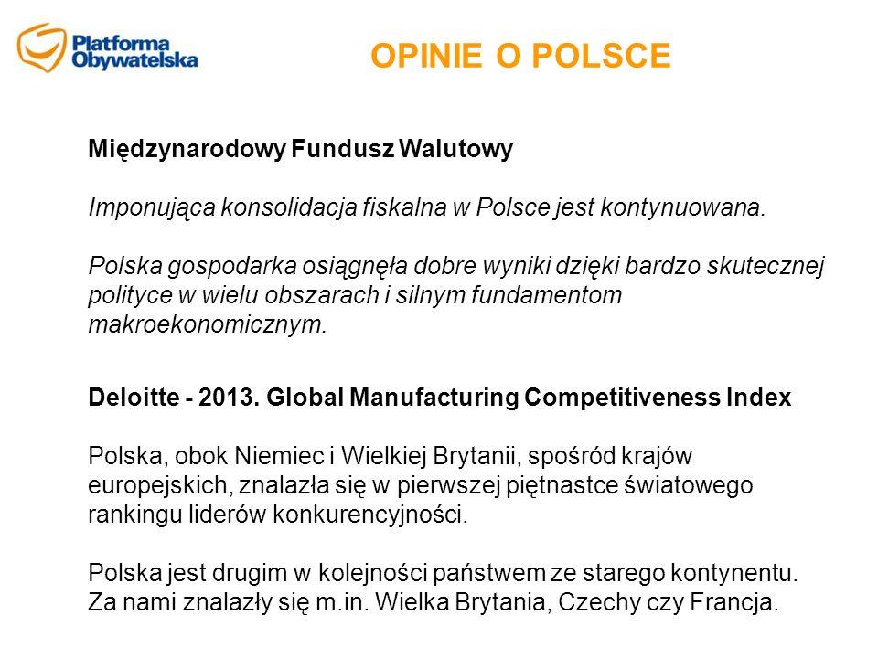 OPINIE O POLSCE Międzynarodowy Fundusz Walutowy Imponująca konsolidacja fiskalna w Polsce jest kontynuowana. Polska gospodarka osiągnęła dobre wyniki