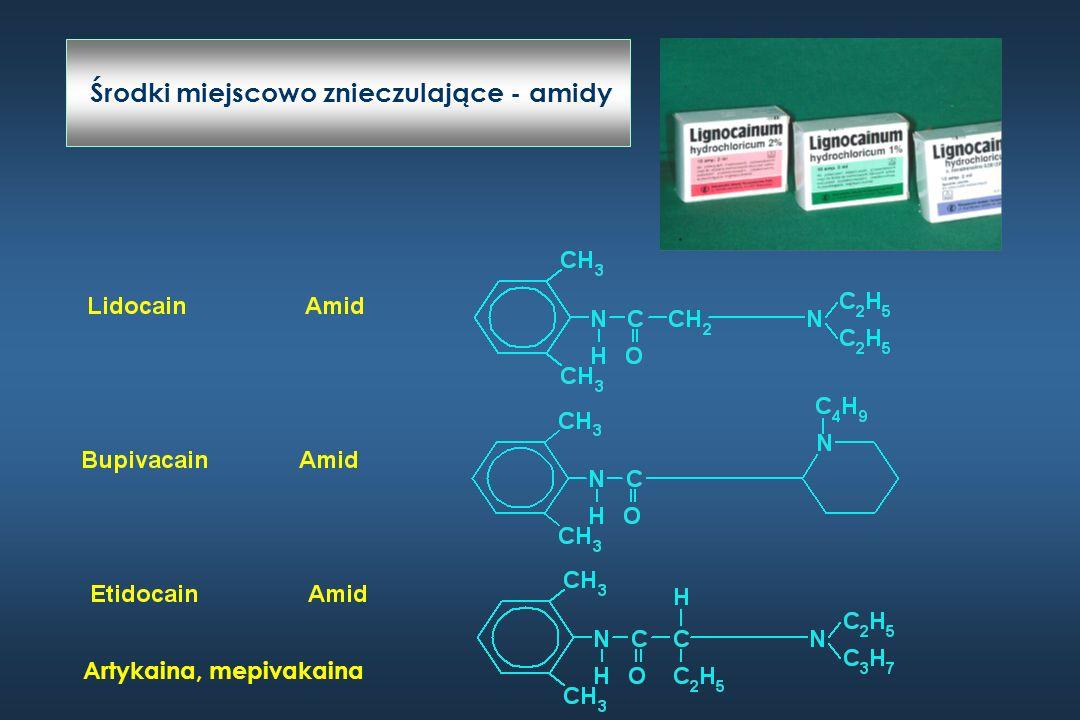 Środki miejscowo znieczulające 2 – 3% znieczuleń miejscowych Alergia < 1% Wyprysk kontaktowy Anafilaksja Drug Allergy.