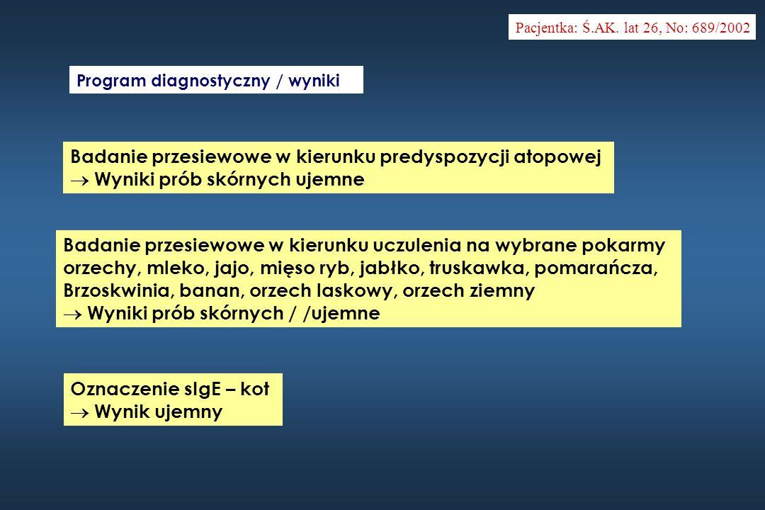 Badanie przesiewowe w kierunku predyspozycji atopowej Wyniki prób skórnych ujemne Pacjentka: Ś.AK. lat 26, No: 689/2002 Program diagnostyczny / wyniki