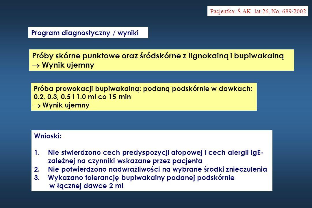 Pacjentka: Ś.AK. lat 26, No: 689/2002 Program diagnostyczny / wyniki Próby skórne punktowe oraz śródskórne z lignokainą i bupiwakainą Wynik ujemny Pró