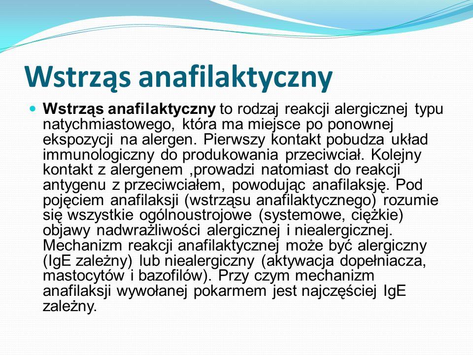 Wstrząs anafilaktyczny Wstrząs anafilaktyczny to rodzaj reakcji alergicznej typu natychmiastowego, która ma miejsce po ponownej ekspozycji na alergen.