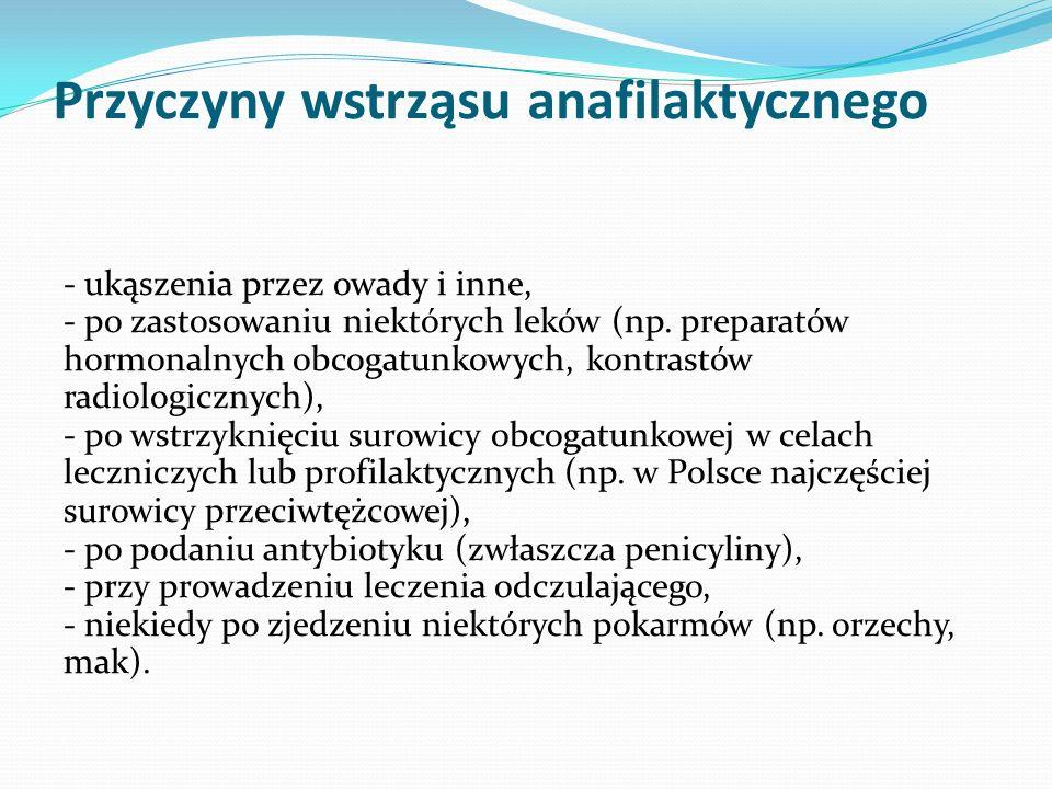 Przyczyny wstrząsu anafilaktycznego - ukąszenia przez owady i inne, - po zastosowaniu niektórych leków (np.