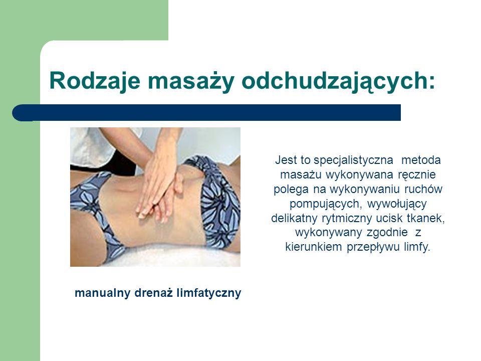 Rodzaje masaży odchudzających: manualny drenaż limfatyczny Jest to specjalistyczna metoda masażu wykonywana ręcznie polega na wykonywaniu ruchów pompu