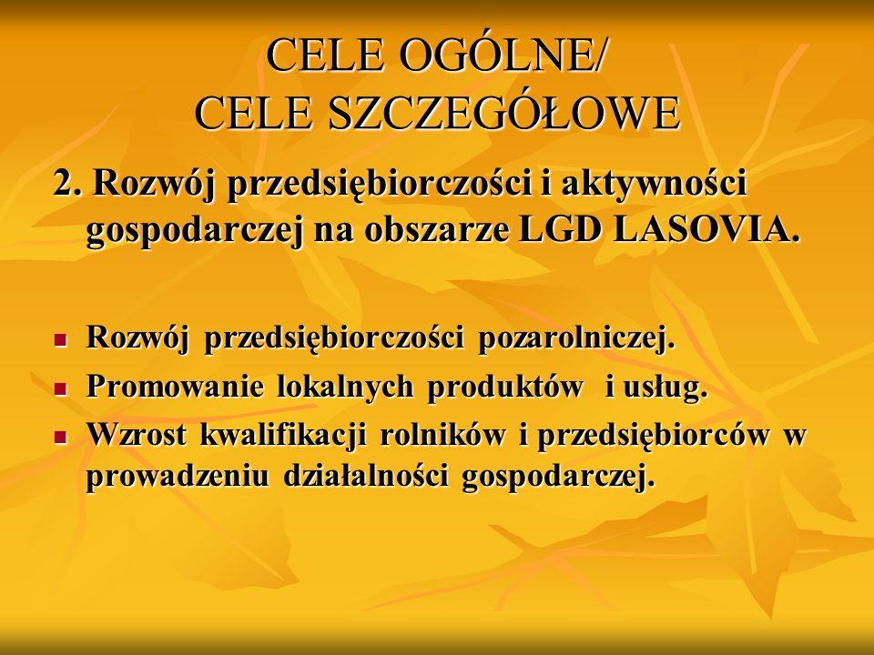 CELE OGÓLNE/ CELE SZCZEGÓŁOWE 2. Rozwój przedsiębiorczości i aktywności gospodarczej na obszarze LGD LASOVIA. Rozwój przedsiębiorczości pozarolniczej.