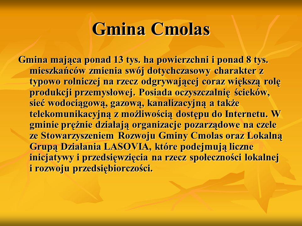 Gmina Cmolas Gmina mająca ponad 13 tys. ha powierzchni i ponad 8 tys. mieszkańców zmienia swój dotychczasowy charakter z typowo rolniczej na rzecz odg