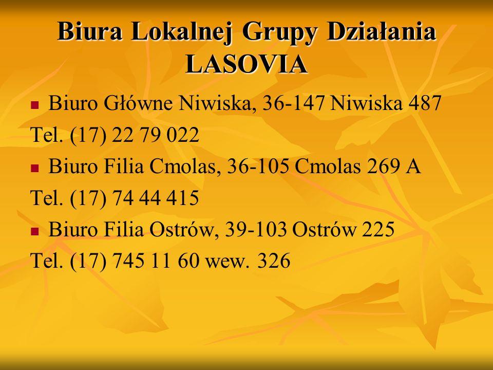 Biura Lokalnej Grupy Działania LASOVIA Biuro Główne Niwiska, 36-147 Niwiska 487 Tel. (17) 22 79 022 Biuro Filia Cmolas, 36-105 Cmolas 269 A Tel. (17)