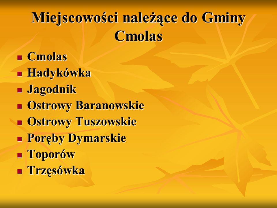 Gmina Cmolas Gmina posiada wspaniałe tereny rekreacyjne i turystyczne 42% powierzchni Gminy stanowią lasy z bogatą florą i fauną.