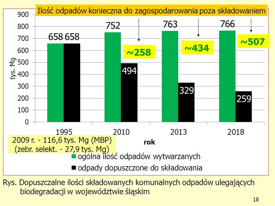 Rys. Dopuszczalne ilości składowanych komunalnych odpadów ulegających biodegradacji w województwie śląskim 18 ~258 ~434 ~507 Ilość odpadów konieczna d