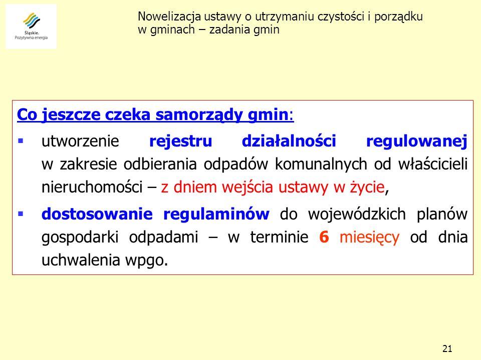 21 Co jeszcze czeka samorządy gmin: utworzenie rejestru działalności regulowanej w zakresie odbierania odpadów komunalnych od właścicieli nieruchomośc