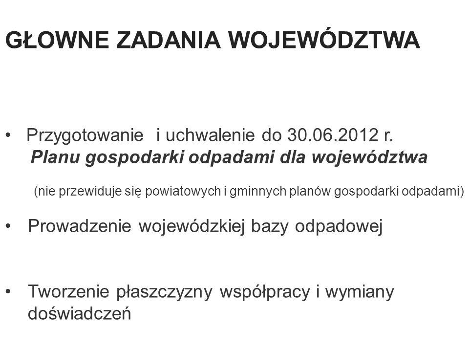 33 Przygotowanie i uchwalenie do 30.06.2012 r. Planu gospodarki odpadami dla województwa (nie przewiduje się powiatowych i gminnych planów gospodarki