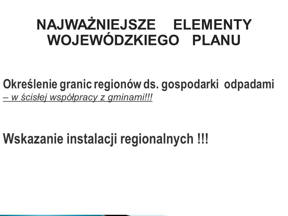 34 Określenie granic regionów ds. gospodarki odpadami – w ścisłej współpracy z gminami!!! Wskazanie instalacji regionalnych !!! NAJWAŻNIEJSZE ELEMENTY