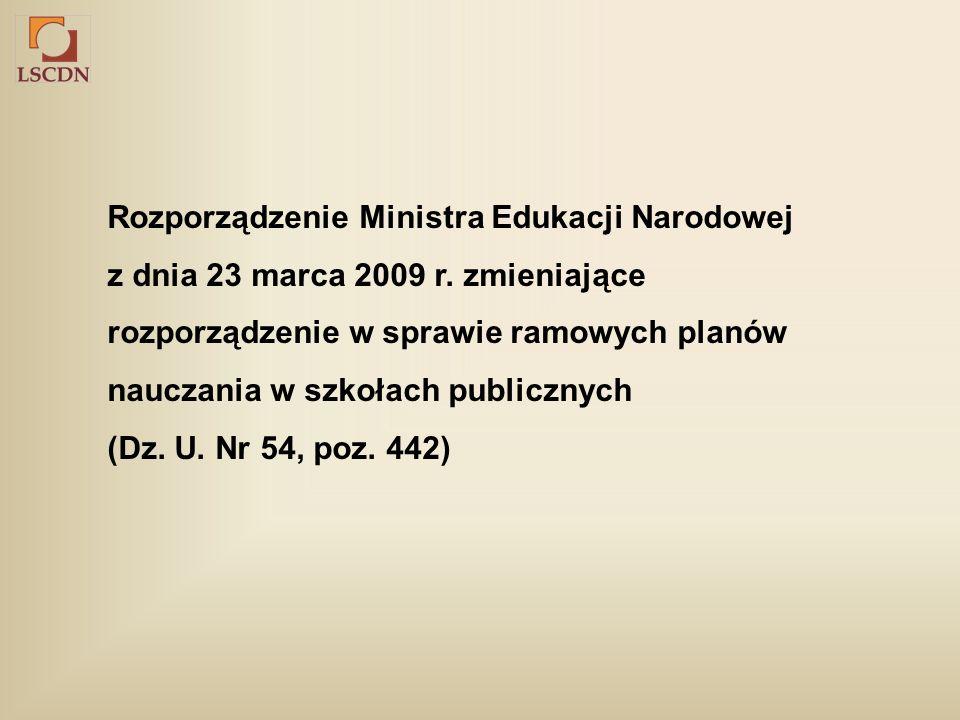 Rozporządzenie Ministra Edukacji Narodowej z dnia 23 marca 2009 r.