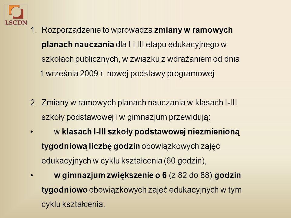 1. Rozporządzenie to wprowadza zmiany w ramowych planach nauczania dla I i III etapu edukacyjnego w szkołach publicznych, w związku z wdrażaniem od dn