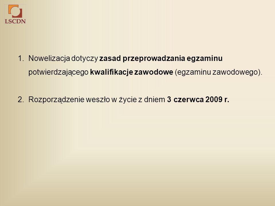 1. Nowelizacja dotyczy zasad przeprowadzania egzaminu potwierdzającego kwalifikacje zawodowe (egzaminu zawodowego). 2. Rozporządzenie weszło w życie z