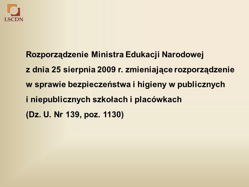 Rozporządzenie Ministra Edukacji Narodowej z dnia 25 sierpnia 2009 r.