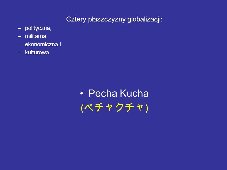 Cztery płaszczyzny globalizacji: –polityczna, –militarna, –ekonomiczna i –kulturowa Pecha Kucha ( )