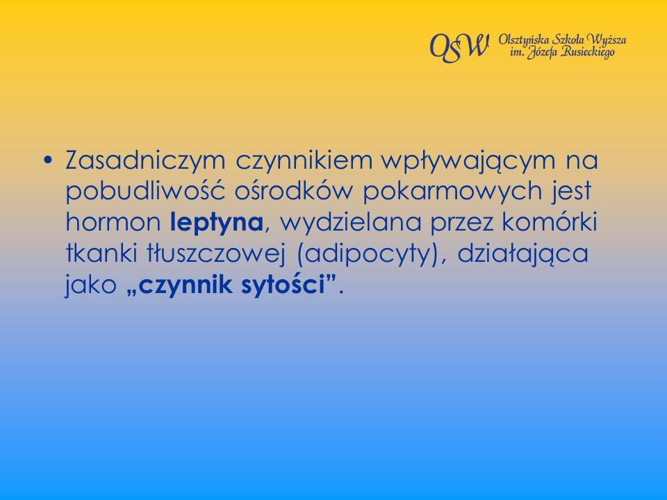 Zasadniczym czynnikiem wpływającym na pobudliwość ośrodków pokarmowych jest hormon leptyna, wydzielana przez komórki tkanki tłuszczowej (adipocyty), d