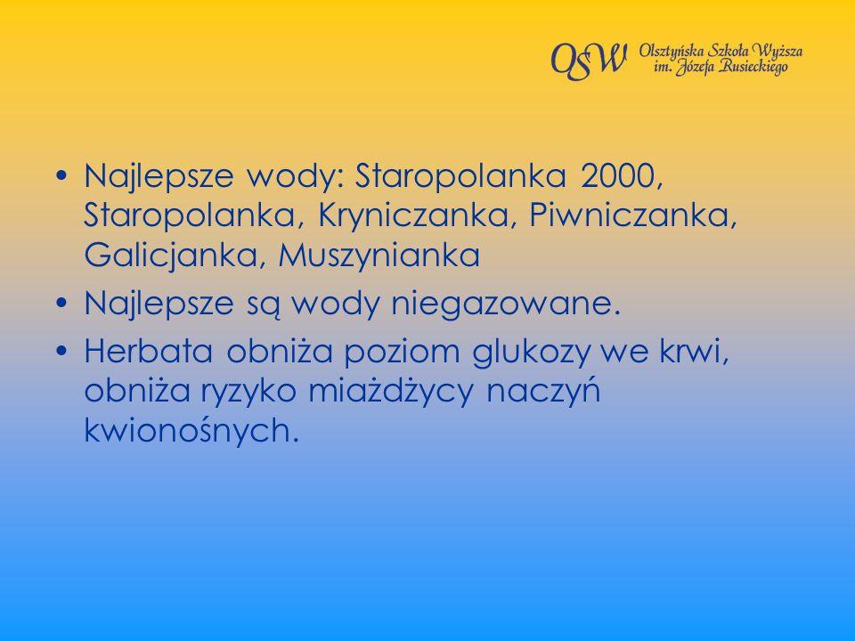 Najlepsze wody: Staropolanka 2000, Staropolanka, Kryniczanka, Piwniczanka, Galicjanka, Muszynianka Najlepsze są wody niegazowane. Herbata obniża pozio