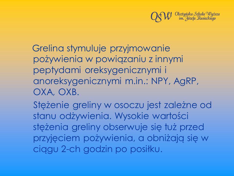 Grelina stymuluje przyjmowanie pożywienia w powiązaniu z innymi peptydami oreksygenicznymi i anoreksygenicznymi m.in.: NPY, AgRP, OXA, OXB. Stężenie g
