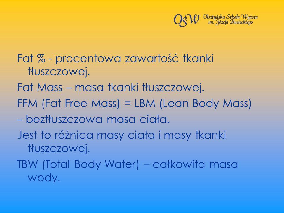 Fat % - procentowa zawartość tkanki tłuszczowej. Fat Mass – masa tkanki tłuszczowej. FFM (Fat Free Mass) = LBM (Lean Body Mass) – beztłuszczowa masa c