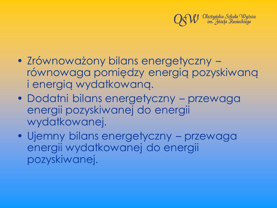 Zrównoważony bilans energetyczny – równowaga pomiędzy energią pozyskiwaną i energią wydatkowaną. Dodatni bilans energetyczny – przewaga energii pozysk