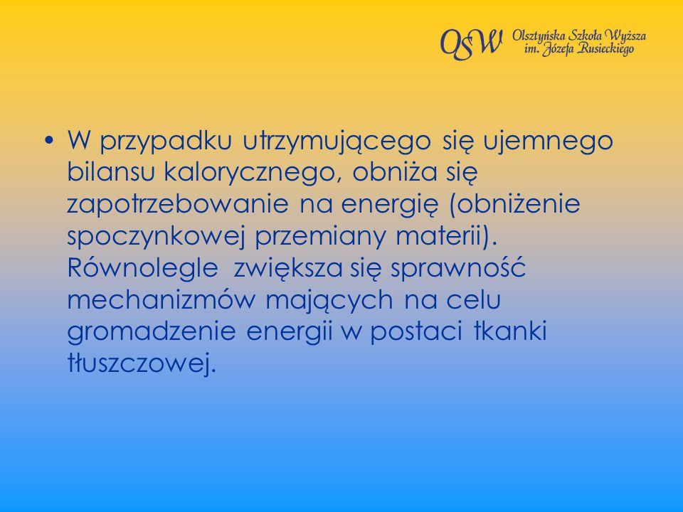 W przypadku utrzymującego się ujemnego bilansu kalorycznego, obniża się zapotrzebowanie na energię (obniżenie spoczynkowej przemiany materii). Równole