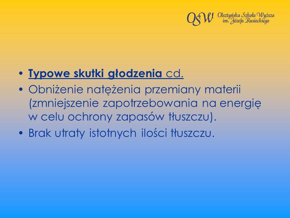 Typowe skutki głodzenia cd. Obniżenie natężenia przemiany materii (zmniejszenie zapotrzebowania na energię w celu ochrony zapasów tłuszczu). Brak utra