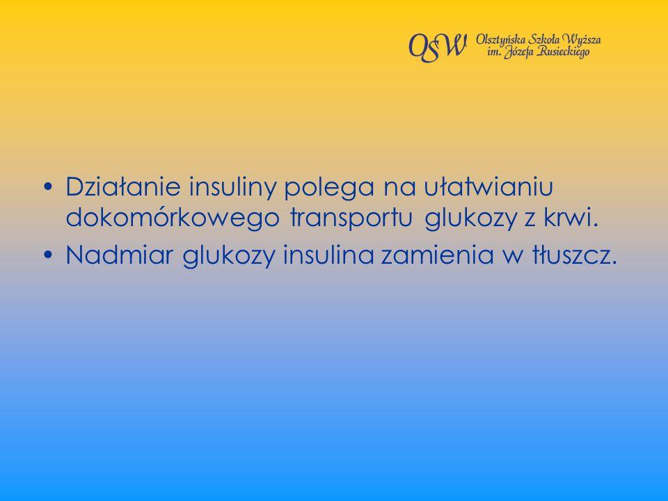 Działanie insuliny polega na ułatwianiu dokomórkowego transportu glukozy z krwi. Nadmiar glukozy insulina zamienia w tłuszcz.