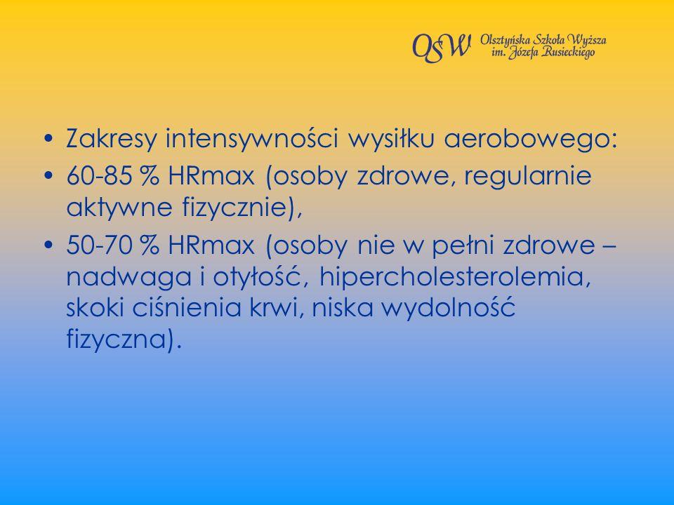 Zakresy intensywności wysiłku aerobowego: 60-85 % HRmax (osoby zdrowe, regularnie aktywne fizycznie), 50-70 % HRmax (osoby nie w pełni zdrowe – nadwag