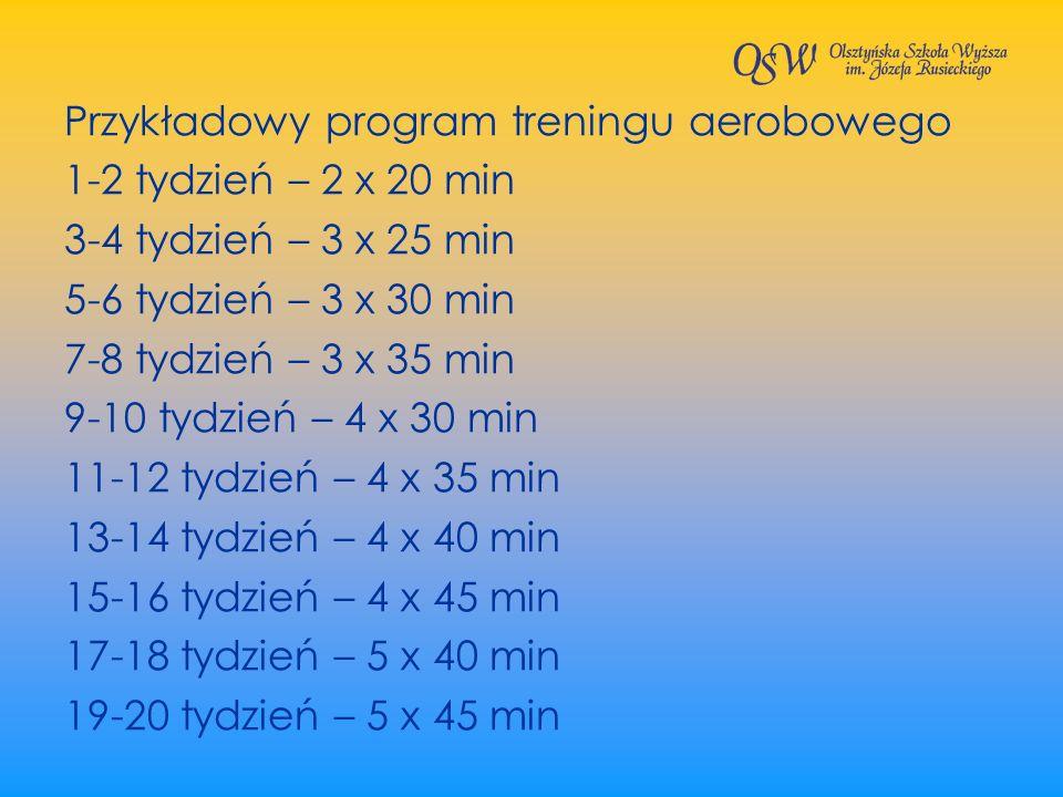 Przykładowy program treningu aerobowego 1-2 tydzień – 2 x 20 min 3-4 tydzień – 3 x 25 min 5-6 tydzień – 3 x 30 min 7-8 tydzień – 3 x 35 min 9-10 tydzi