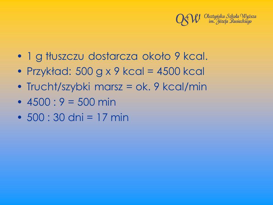 1 g tłuszczu dostarcza około 9 kcal. Przykład: 500 g x 9 kcal = 4500 kcal Trucht/szybki marsz = ok. 9 kcal/min 4500 : 9 = 500 min 500 : 30 dni = 17 mi
