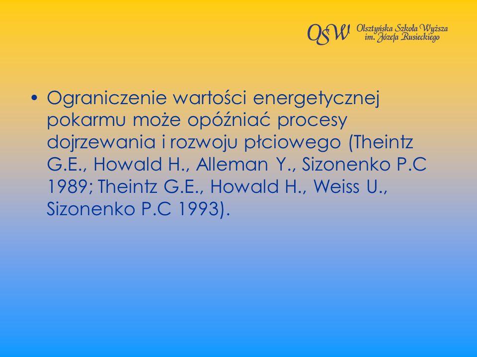 Ograniczenie wartości energetycznej pokarmu może opóźniać procesy dojrzewania i rozwoju płciowego (Theintz G.E., Howald H., Alleman Y., Sizonenko P.C