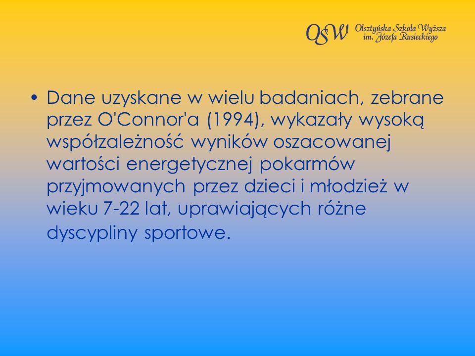 Dane uzyskane w wielu badaniach, zebrane przez O'Connor'a (1994), wykazały wysoką współzależność wyników oszacowanej wartości energetycznej pokarmów p