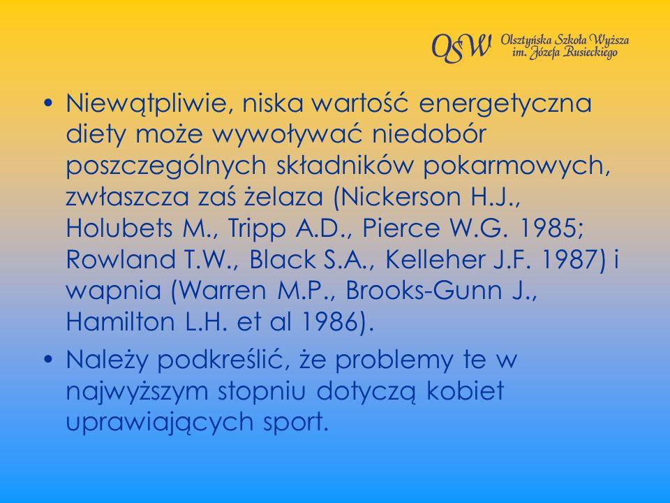 Niewątpliwie, niska wartość energetyczna diety może wywoływać niedobór poszczególnych składników pokarmowych, zwłaszcza zaś żelaza (Nickerson H.J., Ho