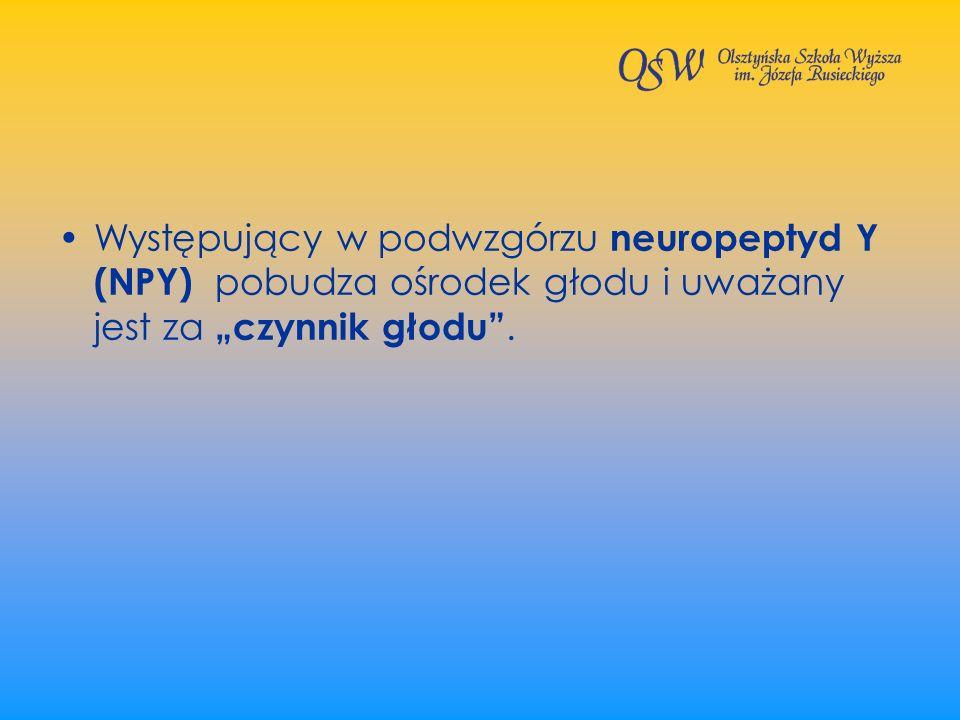 Występujący w podwzgórzu neuropeptyd Y (NPY) pobudza ośrodek głodu i uważany jest za czynnik głodu.